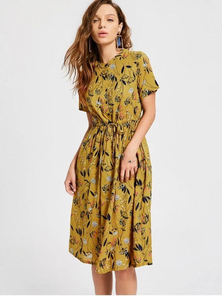 Stunning Floral Print Drawstring Dress