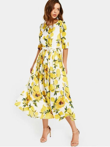 Cheap Lemon Print Belted Dress