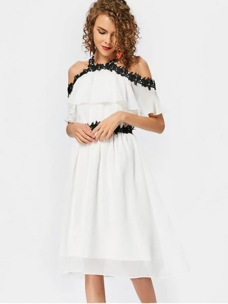 Cheap Lace Trim Cold Shoulder A Line Dress