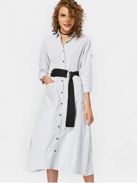 Pretty Bleted Casual Stripes Shirt Dress