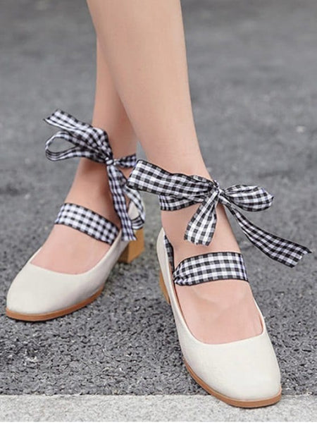 Fashion Square Toe Block Heel Tie Up Pumps