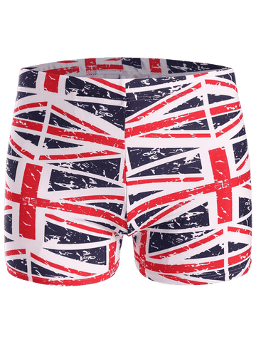 Trendy Distressed Flag Swim Trunks