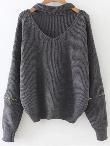 Trendy Zipped Oversized Choker Neck Sweater