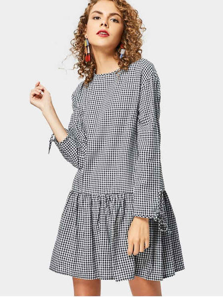 Gorgeous Back Button Embellished Long Sleeve Checked Dress