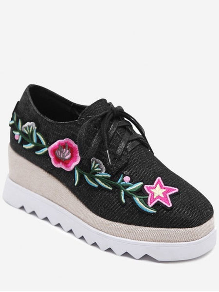Trendy Denim Tie Up Embroidered Wedge Shoes