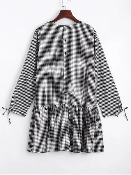 Stunning Checked Flounces Casual Shift Dress