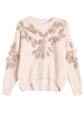 Stunning Patched Fuzzy Bowknot Applique Sweater