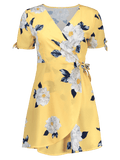 Trendy Flower Print V Neck Wrap Dress