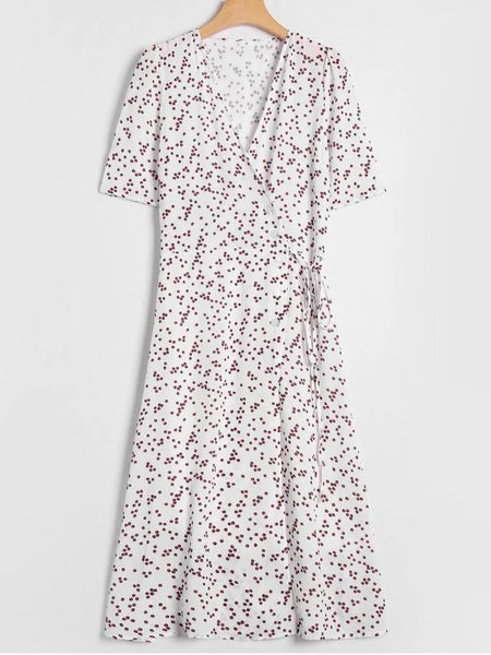 Pretty Polka Dot Overlay Wrap Dress