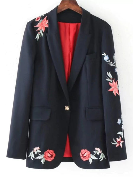Cute Buttoned Rose Embroidered Blazer