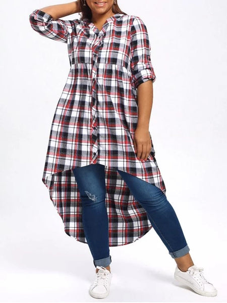 Stunning Plus Size Plaid High Low Shirt
