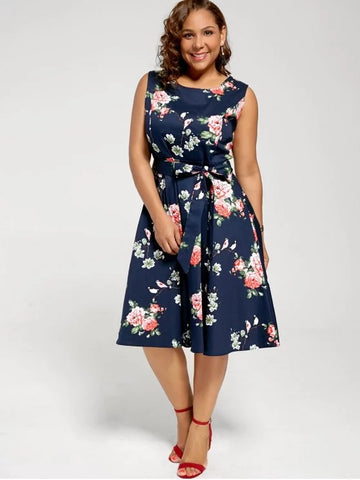 Stunning Floral Sleeveless Plus Size Tea Length Dress