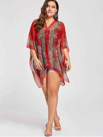 Fun Printed Beaded Plus Size Chiffon Poncho Top