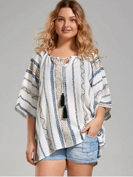 Fashion Plus Size Tribal Printed Bohemian Blouse with Tassel