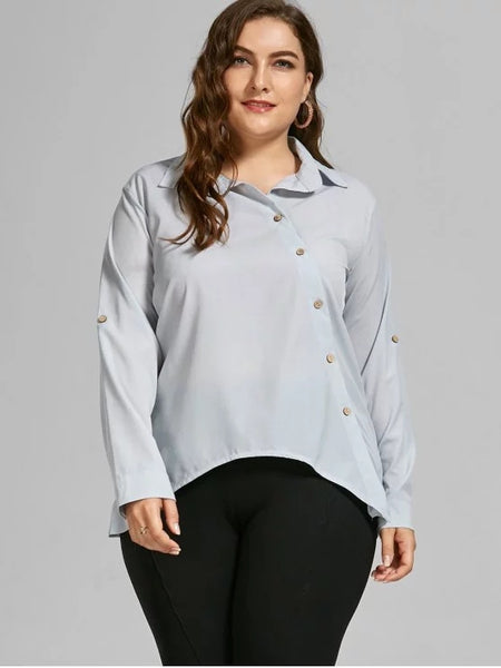 Gorgeous Button Up Long Sleeve Plus Size Shirt