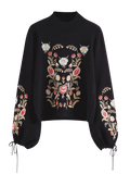 Trendy Mock Neck Flare Sleeve Floral Embroidered Sweater