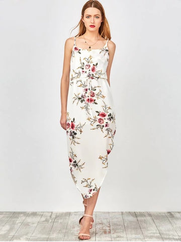 Gorgeous  Slip Floral Drawstring Waist Asymmetric Holiday Dress