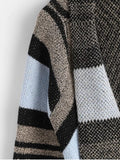 Fashion Color Block Shawl Collar Cardigan