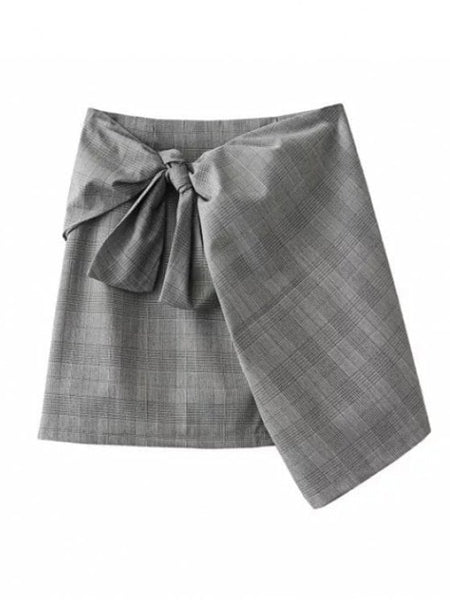 Cute Plaid Mini Wrap Skirt