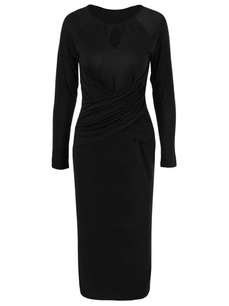 Pretty Midi Bodycon Keyhole Collar Dress With Sleeves