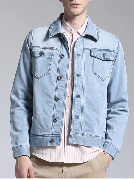 Cheap Slim Fit Button Up Denim Jacket