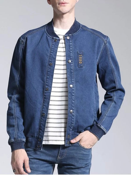 Pretty Patch Deisgn Stand Neck Denim Jacket