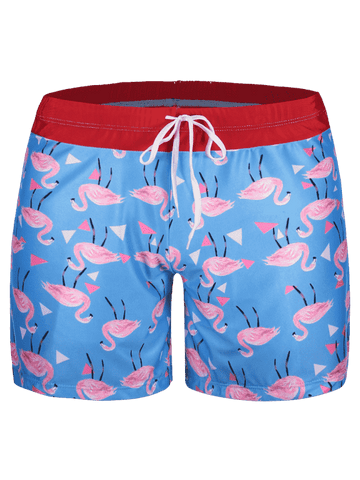Fashion Patch Flamingo Print Swim Trunks