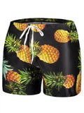 Fashion Pocket Pineapple Print Swim Trunks
