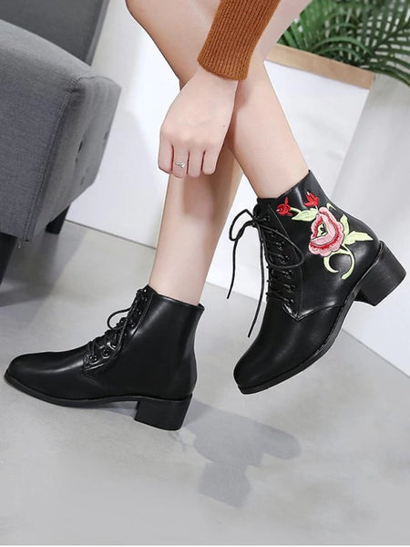 Trendy Embroidery Faux Leather Tie Up Ankle Boots