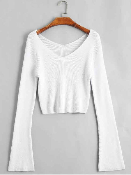 Fun Flare Sleeve Cropped V Neck Sweater