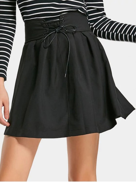 Gorgeous Ruffles Lace Up A Line Mini Skirt
