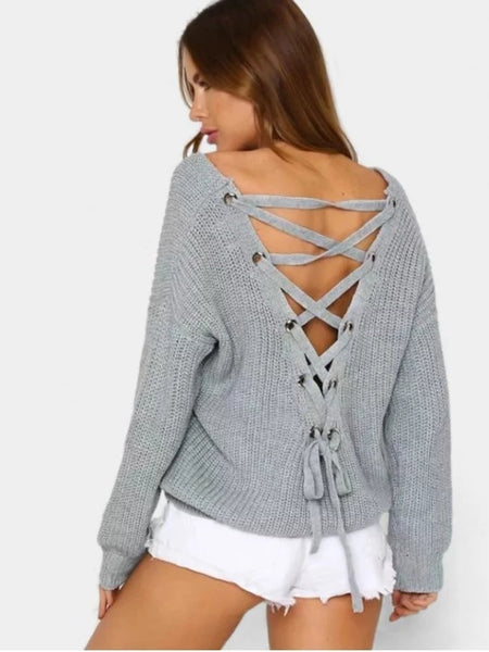 Fun Back Lace Up V Neck Pullover Sweater