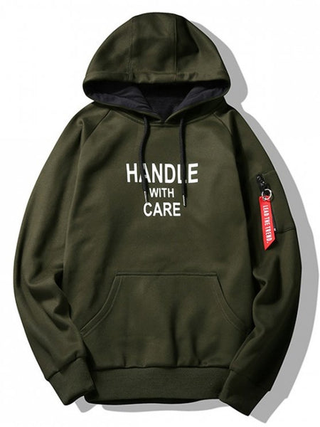 Trendy Flocking Handle With Care Graphic Hoodie