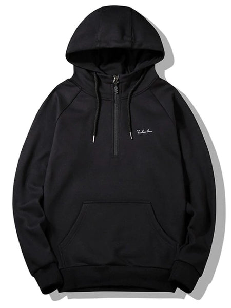 Trendy Half-zipper Flocking Hoodie