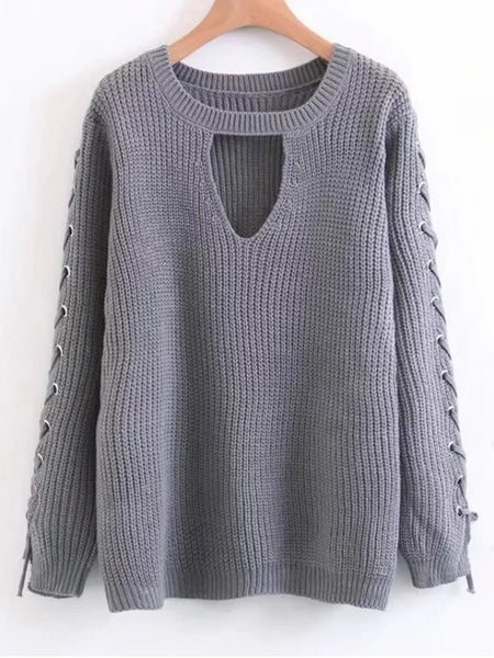 Fashion Lace Up Chunky Choker Sweater