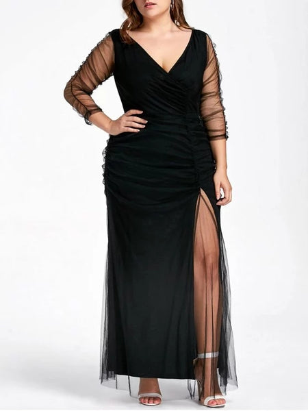 Fashion Plus Size Ruched Sheer Formal Dress