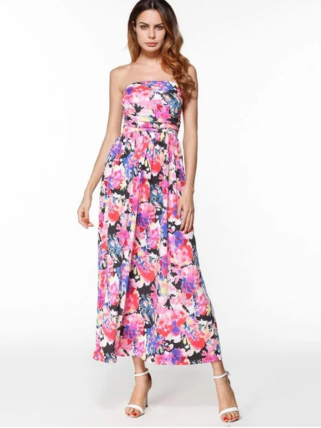 Cheap Maxi Print Bandeau Dress