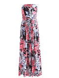 Trendy Print Pocket Maxi Bandeau Dress