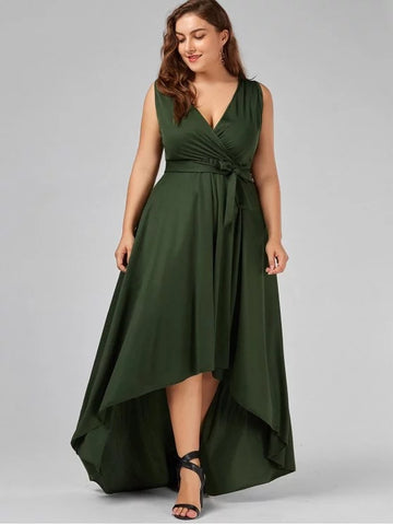Cute V Neck High Low Plus Size Prom Dress