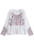 Pretty Ruffles Floral Embroidered Chiffon Blouse