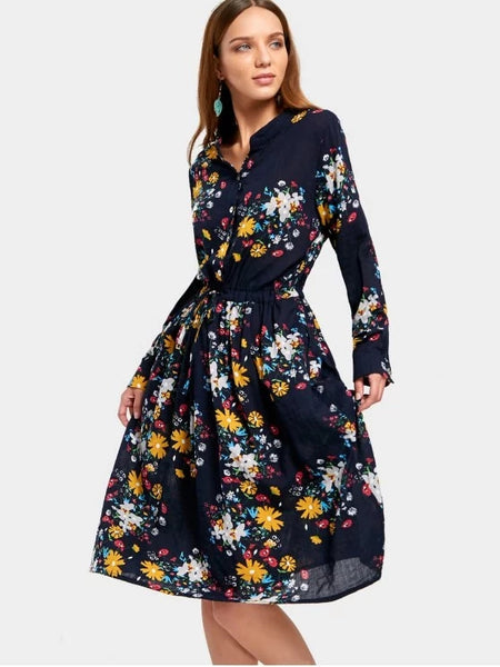 Beautiful Drawstring Waist Long Sleeve Flower Dress
