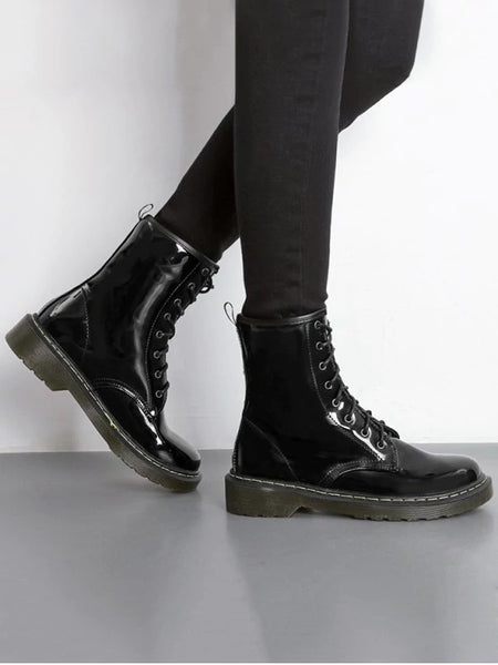 Trendy Tie Up Patent Leather Ankle Boots