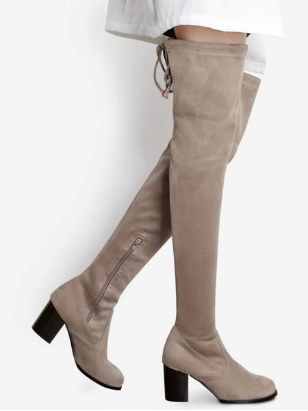 Trendy Suede Pointed Toe Over The Knee Boots