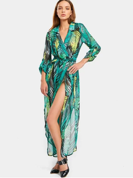 Fun Leaves Print High Slit Belted Asymmetric Dress