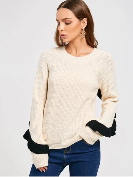 Fashion Ruffles Back Half Zip Sweater