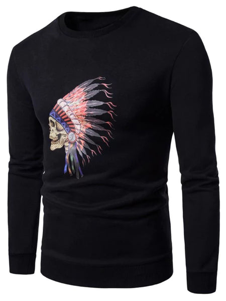 Trendy Crew Neck Skull Chief Print Fleece Sweatshirt