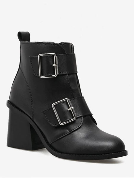 Trendy Chunky Heel Double Buckle Straps Ankle Boots