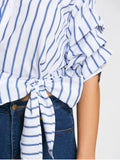 Yun Bow Tied One Shoulder Stripes Shirt