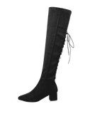 Trendy Chunky Heel Lace Up Over The Knee Boots