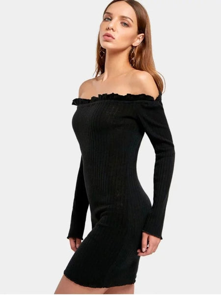 Fashion Off The Shoulder Mini Fitted Dress